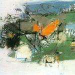 Rythmen einer Landschaft, Dispersion auf Leinwand, 1975, 70 x 102cm