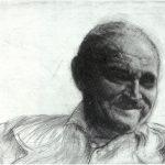 Bernhard Luginbühl, lachend, 1984, Kaltnadel und Mezzotinto, 24 x 31cm