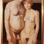 Biletters, 1973, Acryl auf Pavatex hinter Spiegel, Holzrahmen, 152 x 88 cm, Privatbesitz