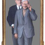 Die Herren Hanhard und von Castelberg, den Ankauf eines Kunstwerks erwägend, 1973, Acryl auf Pavatex hinter Spiegel, Empirerahmen, 166.5 x 109 cm, BSI Art Collection