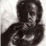Selbstporträt, 1986, Kaltnadel und Mezzotinto, 31 x 34cm
